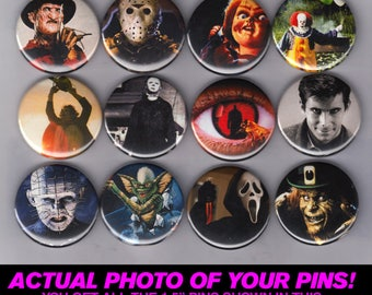 """Horror Icons - 1.5"""" Pins / Buttons (friday the 13th nightmare on elm st childs play it texas chainsaw psycho scream art print poster)"""