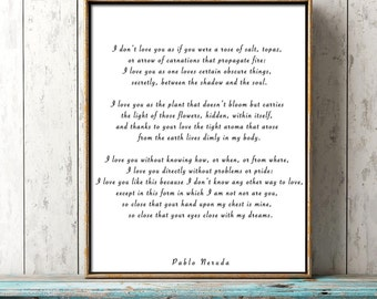 Pablo Neruda Love Verse Print, Love Poem Print, Pablo Neruda Art Print, I Love You Without Knowing How, Love Poetry Art, Gallery Wall Idea