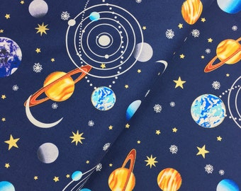 Planets in Navy with Metallic from the Starlight Collection by Henry Glass, Choose Your Cut