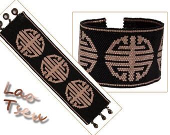 """Lao Tzu"" weaving Delica peyote Cuff Bracelet"