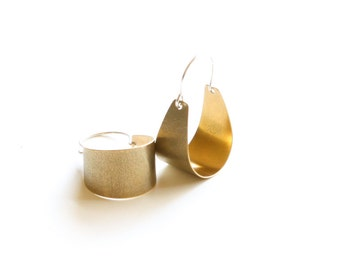 """Small brass earrings lightweight and comfortable to wear, modern design with a textured surface - """"Small Brass Scoop Earrings"""""""