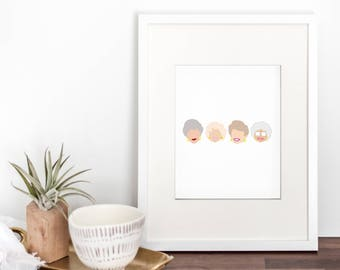 golden girls art print - golden girls artwork - golden girls art - golden girls print - thank you for being a friend - golden girls tv show