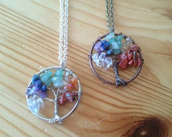 Tree of life necklaces silver or bronze