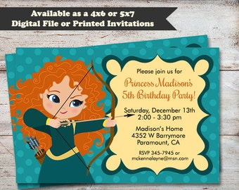 Princess Merida Birthday Party Invitations, Brave Birthday Invitations, Princess Party, Princess Invitations, Digital File or Printed Cards