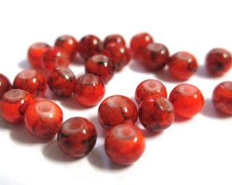 50 speckled Black 4mm neon orange glass beads
