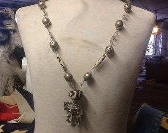 Vintage Mexican Necklace with Milagros
