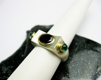 1950s Brutalist Ring, Sterling & 22K Genuine Garnet and Genuine Emerald, Mid Century, Near East or Far East.