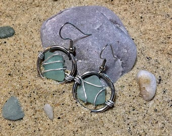 Baby Blue Wired Beach Glass Circle Earrings