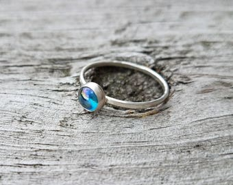 Rainbow Topaz Ring Sterling Silver Stacking Ring