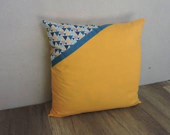 40/40 yellow blue geometric grey Cushion cover