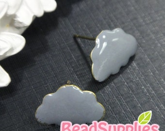 FN-EX-03001GY - Nickel Free, Puffy cloud earrings, grey, 2 pairs