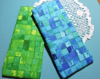 SQUARES, BLUE or GREEN Eyeglass/iPhone/large sunglasses cases/reading glasses cases