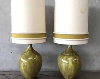 Pair of Mid Century Green Ceramic Lamps (S6AJLB)