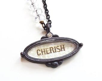 Annette - cherish necklace - cherish charm necklace - crystal necklace