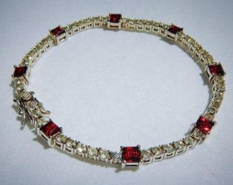 Garnet and CZ Vintage Tennis Bracelet Set in Sterling Silver