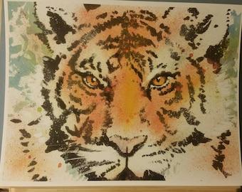 Original Tiger watercolor print, 8.5×11, signed