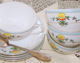 Antique Nippon Tea Cups & Saucers Set of Four (4 ) Hand Painted Delicate Porcelain 75-100 years of Age