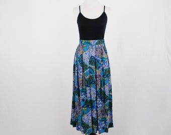 1980s Rayon Batik Print Skirt