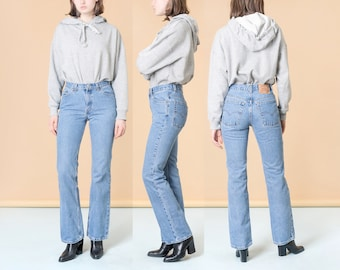 LEVIS HIGH WAIST jeans 527 bootcut vintage U S A made usa woman flares bell bottoms / Size 7 / 28 Inch