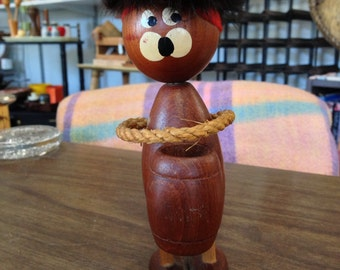 Danish Hans Bolling Style Optimist and Pessimist Character Wood Toothpick Holder with Barrel - Hand Painted Eyes, Fur Hair with Feather
