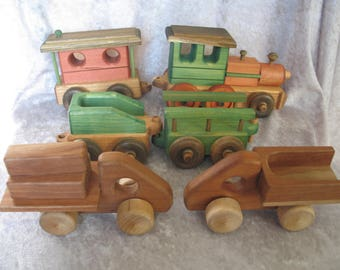 A Lot of 6 US Handmade Wooden Trains & Car Toys from Lark Toys, Kellogg, MN