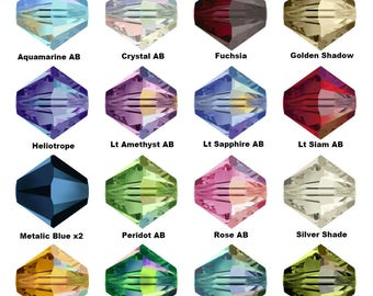 50 Swarovski Crystal 5328 Xilion Bicone Beads 4mm Crystal AB All Colours