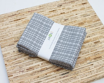 Large Cloth Napkins - Set of 4 - (N2269) - Gray Hatched Modern Reusable Fabric Napkins
