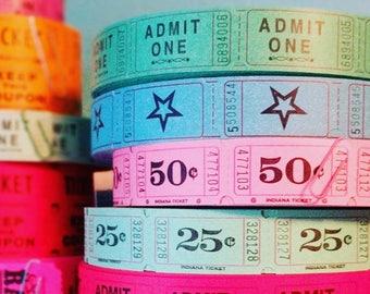 Admit One Raffle Tickets / 20 Tickets / Green / Carnival Tickets / Journal Supply / Scrapbook Ephemera