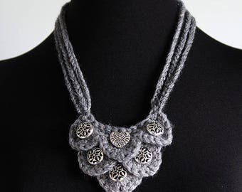 Silver Light Gray Color Fiber Crochet Statement Bib Style Necklace with Metal Charms Pendants