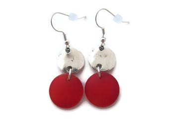 Red Beach Glass Earrings, Bright Red Dangles, Recycled Glass, Red Sea Glass Earrings, Long Red Earrings, Round Red Dangles, Red and Silver