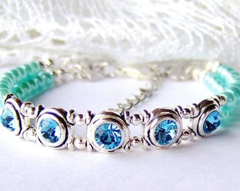 Aqua rhinestone and pearl double strand bracelet / March birthday gift / baby blue pearl / girlfriend gift / gift for her