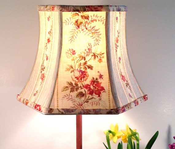 Floral Lamp Shade French Lampshade Vintage Fabric 5x8x6 Clip