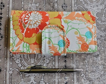 Floral Checkbook Wallet - Checkbook Cover - Coupon Case - Cash Wallet - Fabric Wallet