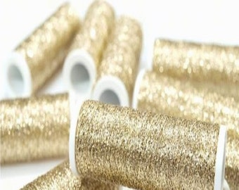 White Gold Metallic Embroidery Thread Spools 60 Metres per Reel - Suitable for Hand Needlework and Embroidery