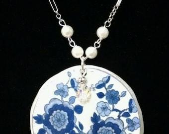 Broken China Blue Flower Necklace