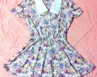 80s Vintage Purple Pink Floral Dress, 1980s Vintage Pastel Pink Floral Dress, Vintage Pastel Floral Dress, Pink Floral Dress