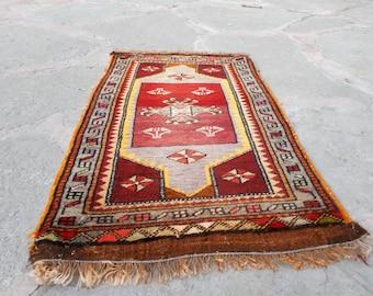 Oushak Rug,Turkish Rug, Small Rug, Small Turkish Rug,Vintage Rug, Bedside Rug, Door Mat Rug, Bath Rug,Decorative Rug, Red Rug,54x89 cm