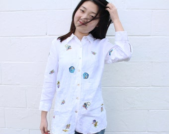 White Embroidered Linen Blouse