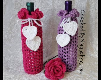 Custom Wine Bottle Cozy, Crochet Wine Bottle Gift Bag Holder, Handmade Gift for Her, Hostess Bridal Wedding Gift, Made to Order