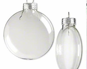 Pack of 10 - 100 mm Clear Plastic Flat Disc Christmas Ornaments