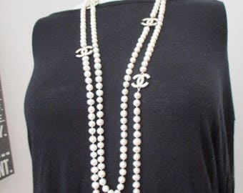 """Designer inspired 70""""long fresh water pearl necklace with silver accents - Can be worn single, double or triple strand"""
