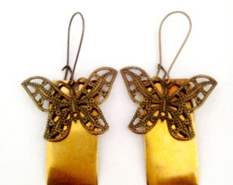 bronze and gold butterfly earrings
