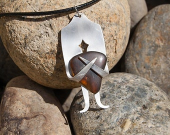 Silver Plated Fork & Tumbled Glass Necklace NL042