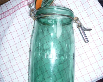 Vintage french large jar L'IDEALE green glass jar preserving jar storage container rubber seal lid kitchen container farmhouse rustic decor.