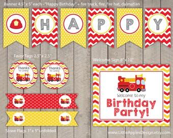 Fire Truck Birthday Package / Fire Truck Birthday Pack / Fire Truck Decoration / Fire Truck Printable / Fire Truck Favor Tags / Fire Man