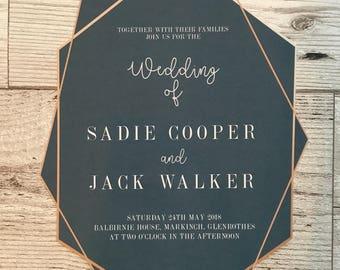Geometric wedding stationery - navy wedding invitations - wedding stationery