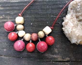 Coral Necklace - Leather Necklace - Beaded Necklace - Wire Wrapped - Red Coral - Statement Jewelry - Bib Necklace - Beach - Tribal - Boho