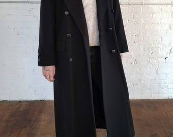 Double Breasted Long Black Wool Jacket