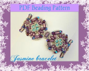 DIY Beading pattern Jasmine bracelet with superDuo or Twin beads and rullas / PDF tutorial with detailed instructions, images and diagrams