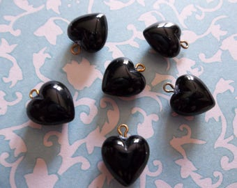 Jet Black Heart Charms Pendants or Earring Findings - 9mm with Brass Loop - Made in Germany - Qty 6